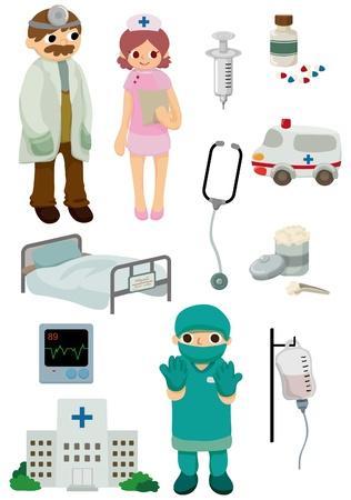 doctors and patient: icono de hospital de dibujos animados Vectores