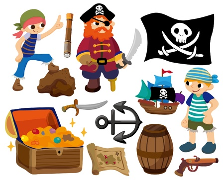 sailor hat: cartoon pirate icon Illustration