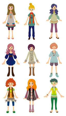hair style set: cartoon girl icon