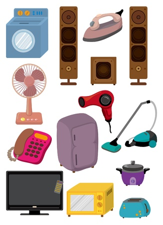 vacuuming: Icone di Cartoon home Appliance
