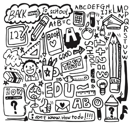 clip art draw: hand draw school element Illustration