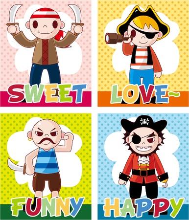 cartoon pirate card Vector