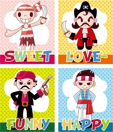 cartoon pirate card Stock Vector - 8639235