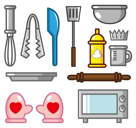 pan con mantequilla: icono de la herramienta de dibujo animado para hornear Vectores