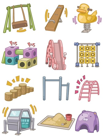 children playground: icono de Parque infantil de dibujos animados Vectores