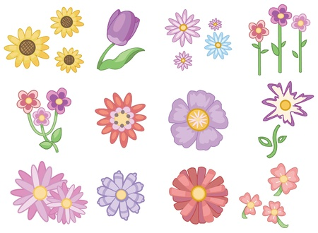 pastel flowers: cartoon flower icon Illustration