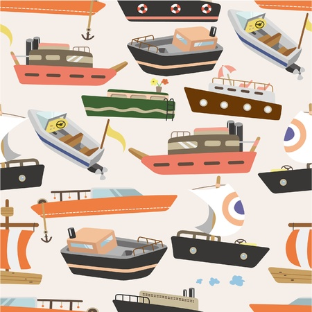 seamless boat pattern Vector