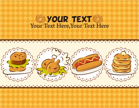 fried: Fast food card  Illustration