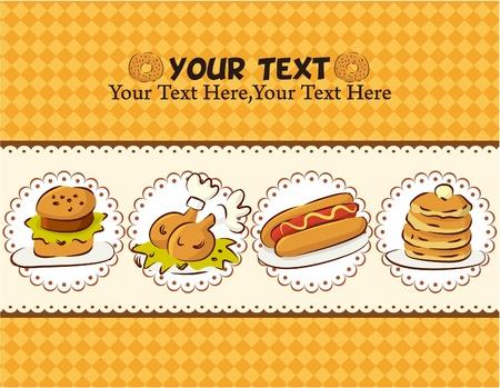 hot dog: Fast food card  Illustration