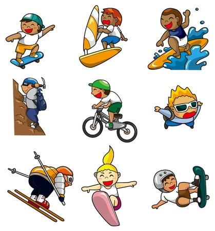 icono de deporte extremo de dibujos animados Ilustración de vector