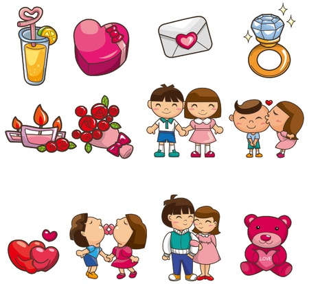 group hug: cartoon Valentine icon Illustration