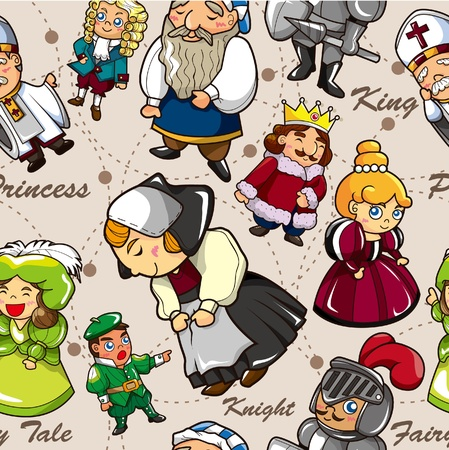 seamless medieval people pattern Vector