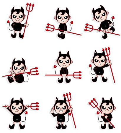 devil cartoon: cartoon devil icon  Illustration