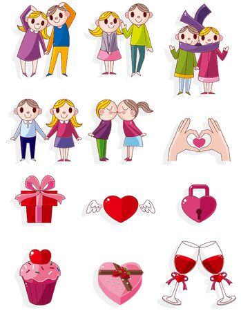 Cartoon Valentine pictogram  Vector Illustratie