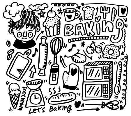 bread knife: hand draw baking element  Illustration