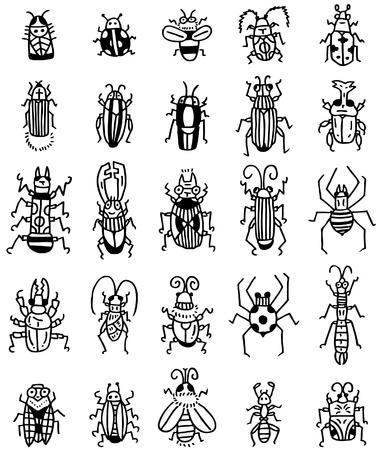 scarabeo: mano disegnare icone degli insetti