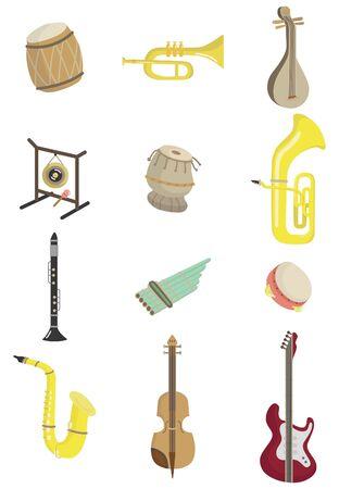 flet: Cartoon instrument muzyczny ikonÄ™  Ilustracja