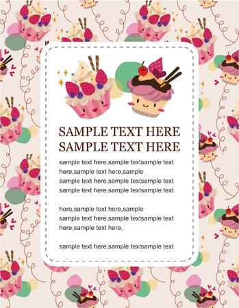 layout strawberry: cartoon cake card