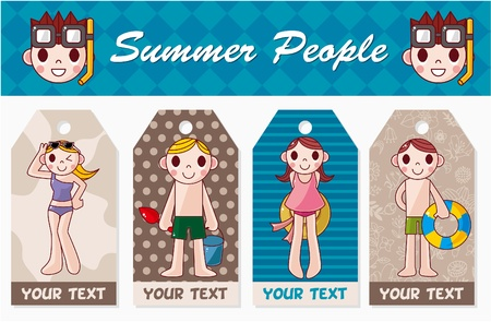 swim boy: summer people card