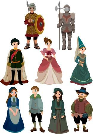 middeleeuwse jurk: Cartoon middeleeuwse mensen pictogram Stock Illustratie