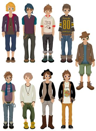 young: cartoon charming  young man icon Illustration