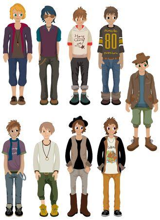 jovenes en grupo: icono de hombre joven encantador de dibujos animados
