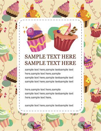cartoon cake card Stock Vector - 8713486