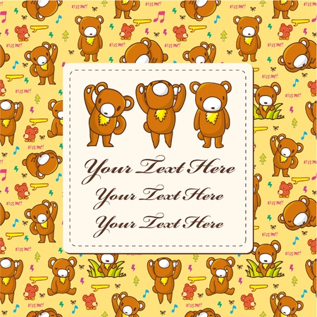 cartoon bear card Vector