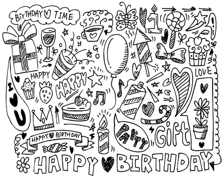 happy birthday cake: hand draw birthday element
