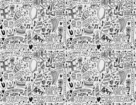 birthday invitation: seamless birthday element pattern Illustration