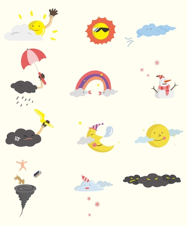 cartoon weather icon  Vector