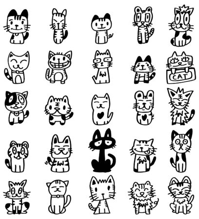 clip art draw: hand draw cartoon cat icon