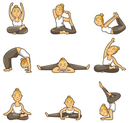cartoon yoga: cartoon yoga girl icon