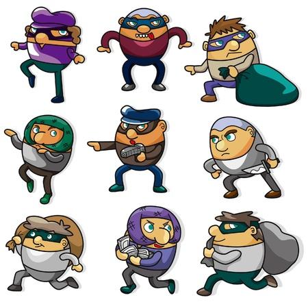 burglar: icona del ladro di cartone animato  Vettoriali