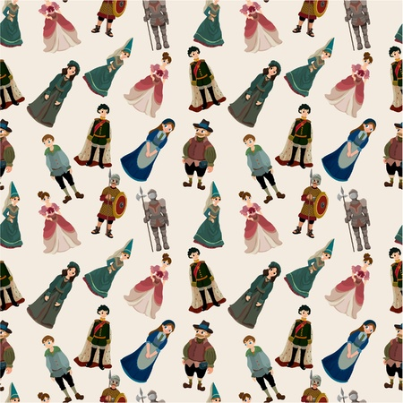 medieval woman: seamless Medieval people pattern Illustration