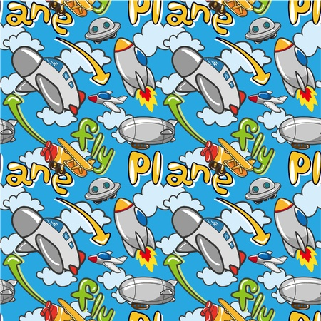 seamless airplane pattern Stock Vector - 8918944