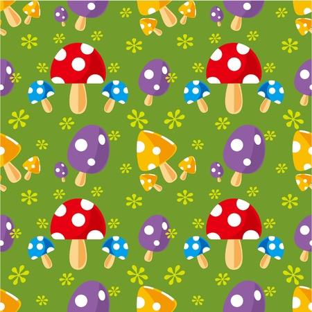 seamless mushroom pattern Vector