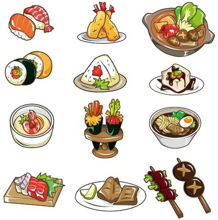 pez globo: icono de comida japonesa de dibujos animados Vectores