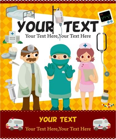 infermiere paziente: carta di medico del cartone animato