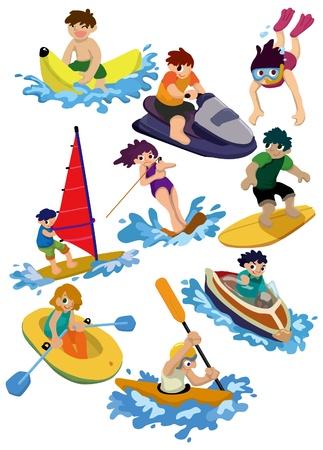 moto acuatica: icono de deporte de agua de dibujos animados