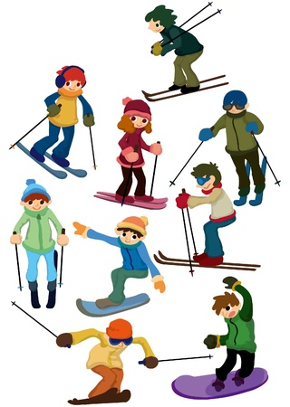cartoon ski people icon Vector