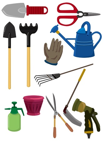 gardening tools: cartoon gardening icon