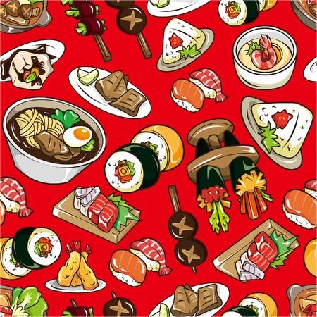 Patrón de comida japonesa transparente  Foto de archivo - 8927395