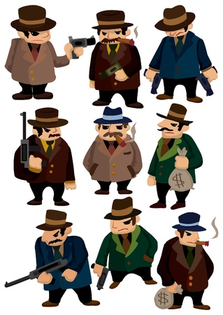 cartoon gangster: cartoon mafia icon