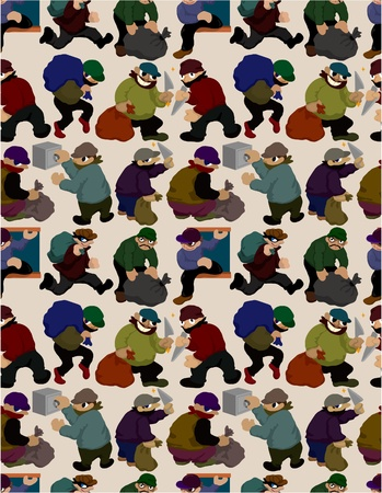 burglar man: seamless thief pattern Illustration