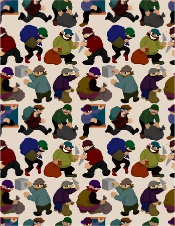 seamless thief pattern Illustration