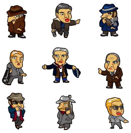 gangster with gun: icono de mafia de dibujos animados