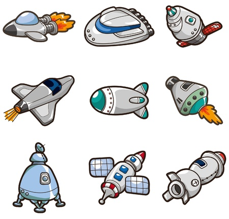 spacecraft: cartoon spaceship icon