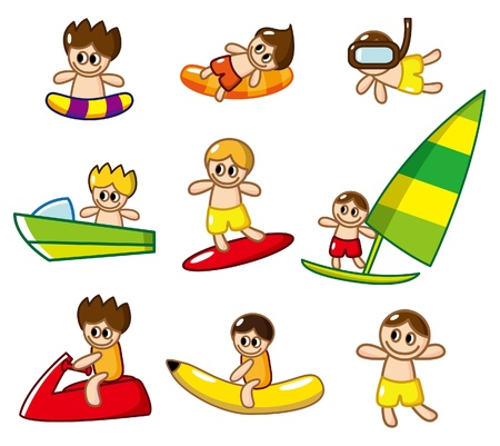 floating on water: cartoon water sport icon Illustration