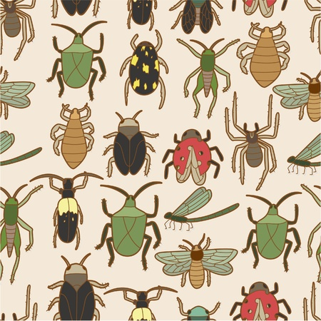 seamless bug pattern Vector